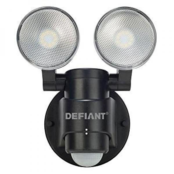 HeathCo 180-Degree 2-Head Outdoor Motion Activated Black ...