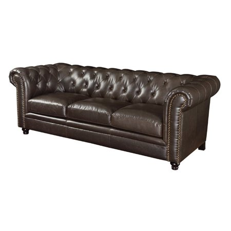 - Kingfisher Lane Leather Button Tufted Sofa in Dark Brown