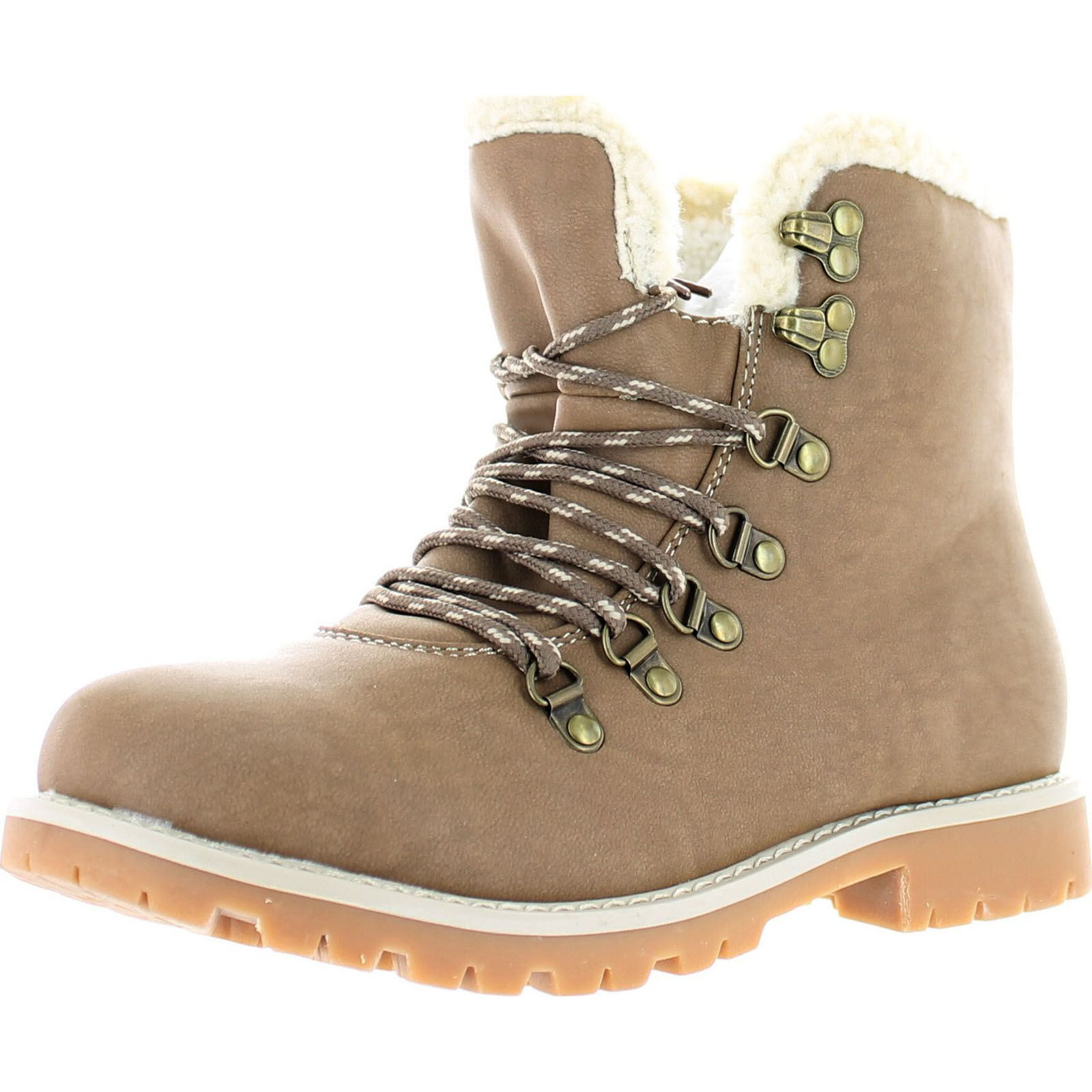 Refresh Women's Hudson-01 Lace-Up Long Sherpa Lined Combat Fashion Work Boots