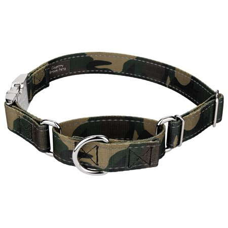 Country Brook Petz | Woodland Camo Reflective Martingale Dog Collar With Premium (Martingale Buckle Collar)