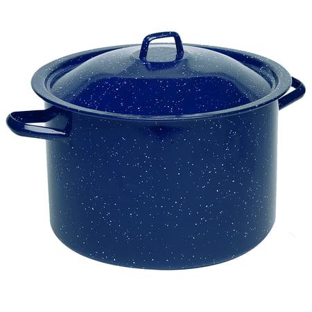 IMUSA USA 6 Quart Blue Enamel Stock Pot with Matching Lid