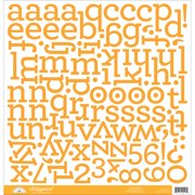 "Chippers Monochromatic Chipboard Alphabet Stickers 12""X12""-Tangerine"