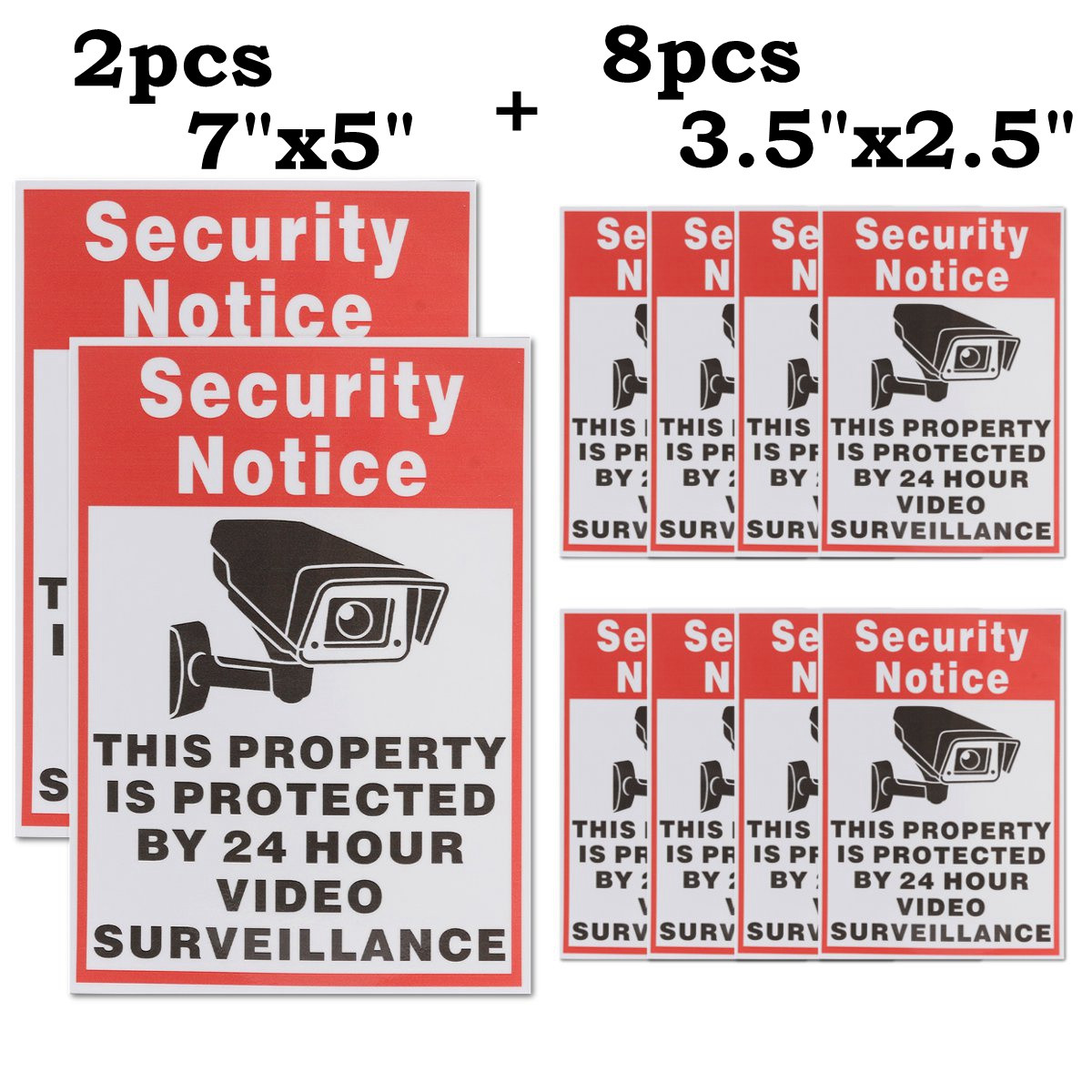 LOT SECURITY SURVEILLANCE CAMERA WARNING DECAL STICKERS