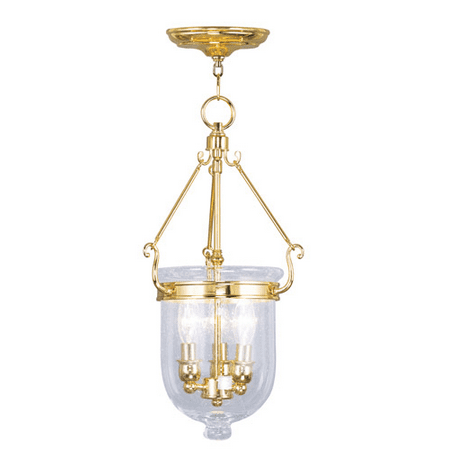 Pendants Porch 3 Light With Seeded Glass Polished Brass size 10 in 180 Watts - World of Crystal