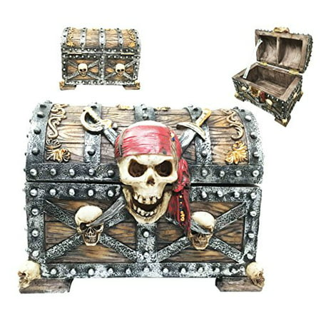 Large Caribbean Pirate Crossed Blades Skull Bandana Captain Marauder Hinged Jewelry Box Figurine Trinket Container](Marauder Pirate)