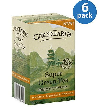 Good Earth Matcha, Sencha & Orange Super Green Tea, 1.37 oz, (Pack of