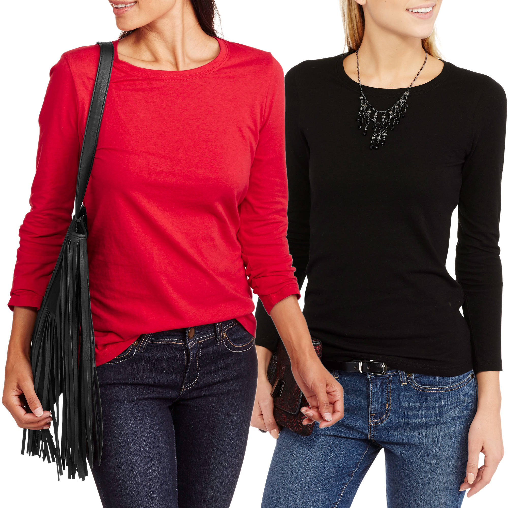 Faded  Glory Womens' Long Sleeve Crew Neck T-Shirt, 2 Pack Value Bundle