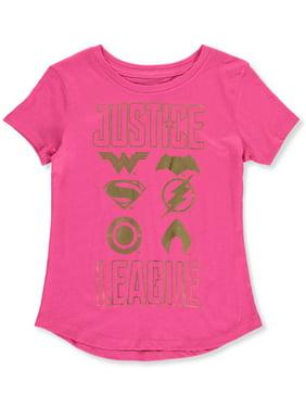 Justice League Girls' Metallic Logo T-Shirt