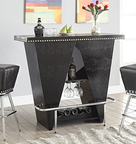 ACME Patrick Bar Table, Black PU & Chrome