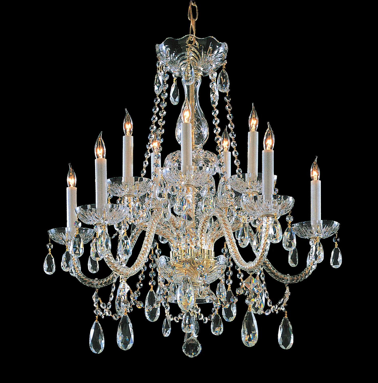 Crystorama 1130-PB-CL-SAQ Five Light Chandeliers by Crystorama