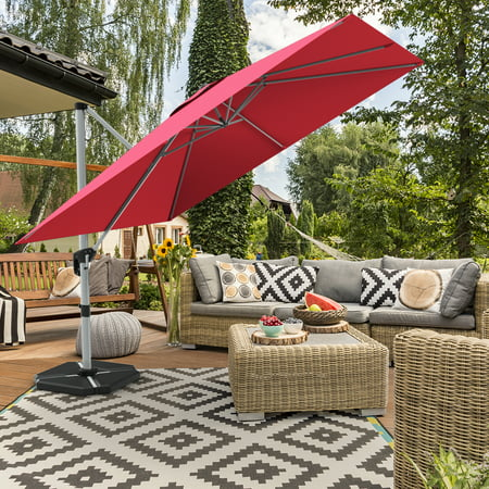 Gymax 10 Ft Square Offset Hanging Patio Umbrella 360 Degree Tilt Brick Red - image 8 of 10