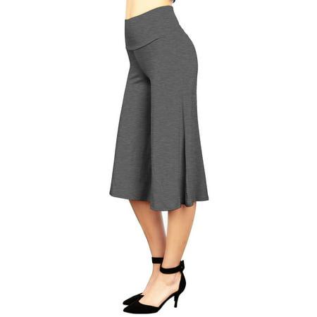 MBJ Womens Knit Culottes Pants L HEATHER_CHARCOAL