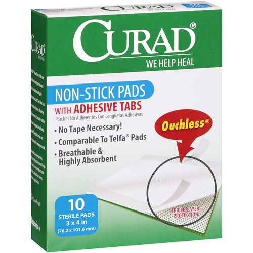 Curad Non-Stick Pads With Adhesive Tabs, 10ct