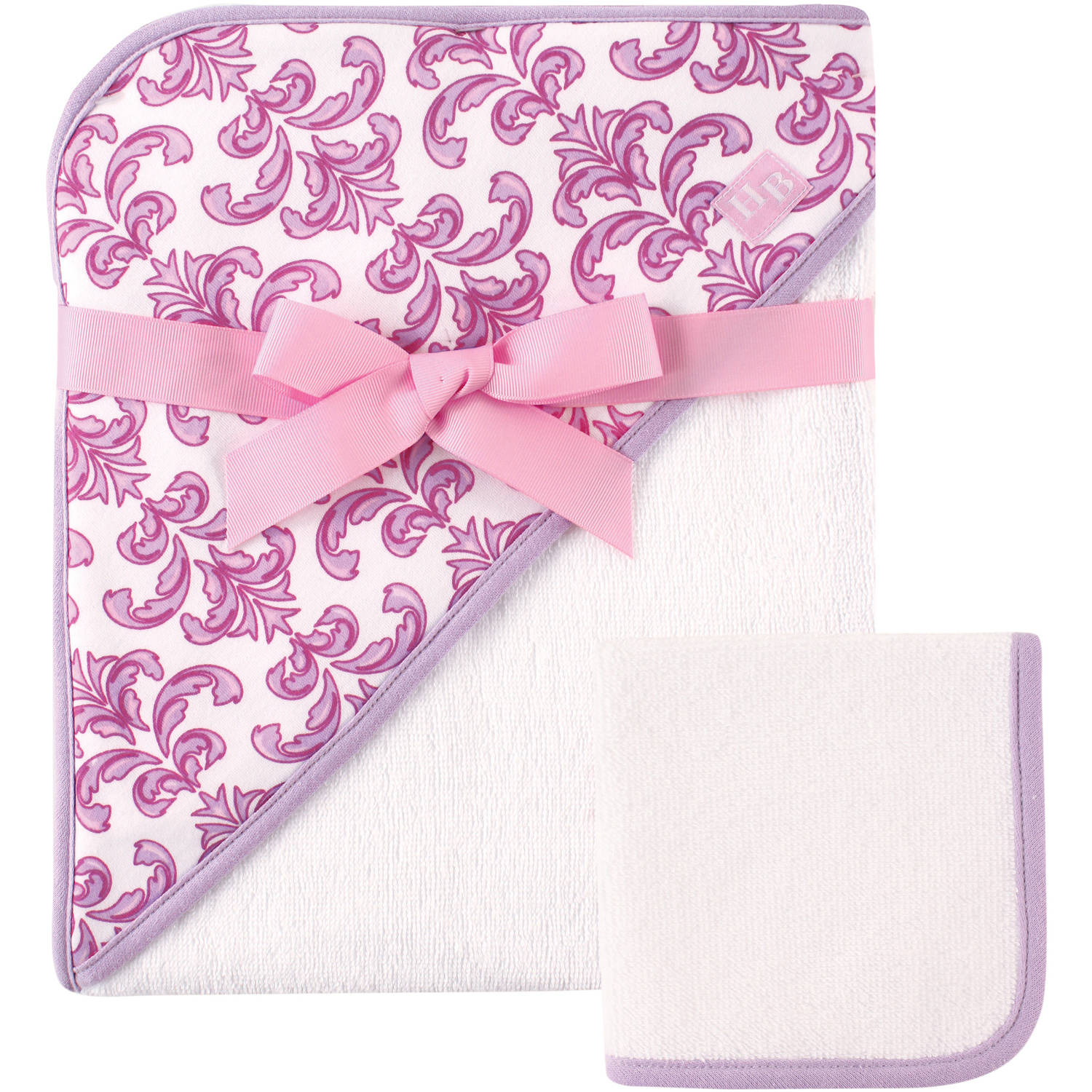 Hudson Baby Print Woven Hooded Towel and Washcloth, Brocade