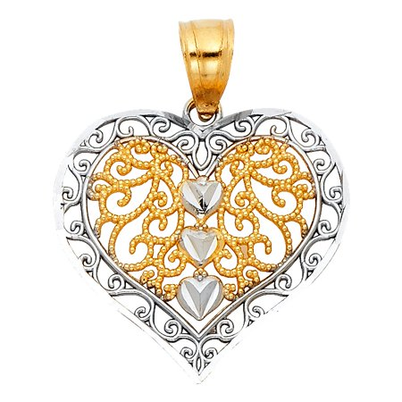 "Bright High Polished Estate Vintage Looks Heart 3/4"" Charm in 14k Italian 2 Tone Colored Gold Pendant No Chain Necklace Ideal Mothers Day Gift"