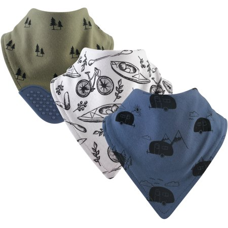 Yoga Sprout Baby Boy and Girl Bandana Bib with Teether, 3-Pack - -