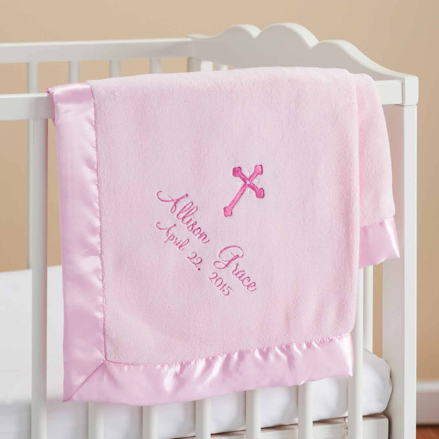 Personalized Precious Cross Pink Baby Blanket