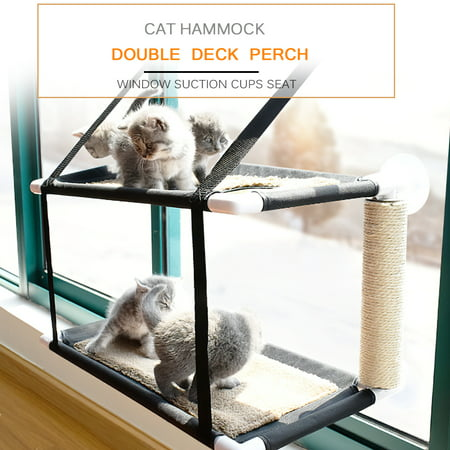 Image of Cat Window Perch Hammock Bed Double Deck Window Suction Cups Seat Cat Shelves Sunbath Hammock Bed for Cat Hold UP to 20KG 44lbs