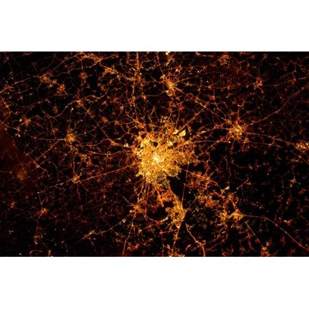 Night In Paris Theme (Night time satellite view of Paris, France Print Wall)