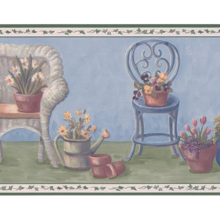 Chairs with Flowers in Pots Blue Green Floral Wallpaper Border Retro Design, Roll 15' x 7'' - image 3 of 3