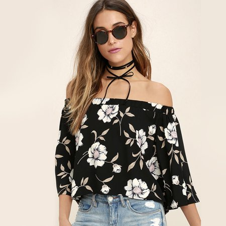 Women's Off Shoulder Shirt Flower Printed Blouse Top with Bishop Sleeve(Black)