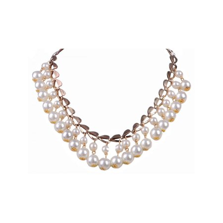 Classy and Elegant Faux Pearls Hearts and Baubles Drop Statement Necklace