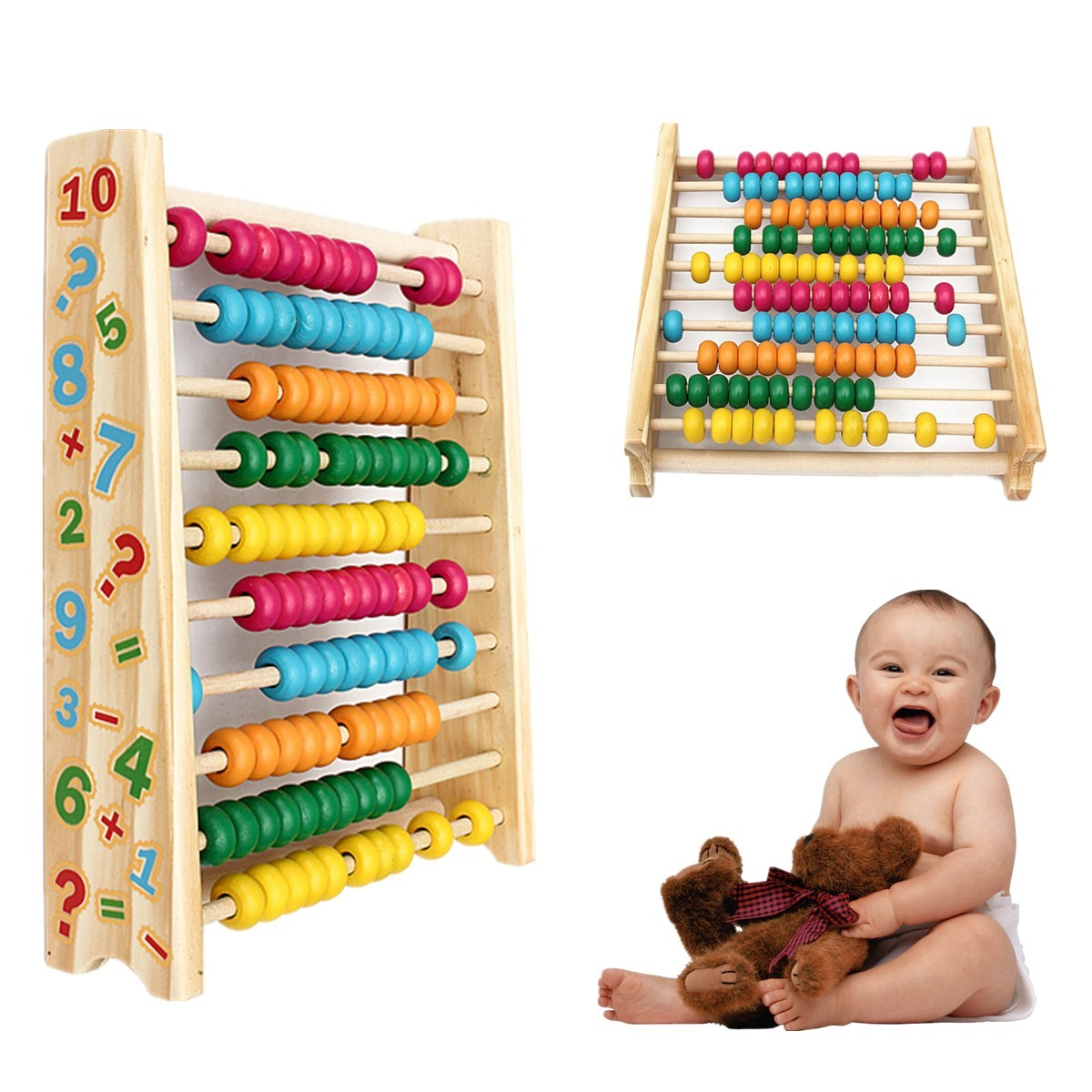 Wooden Abacus Classic Math Number Educational Counting Teaching Educational Toys w/100 Beads For Kid Baby Children Boy Girl