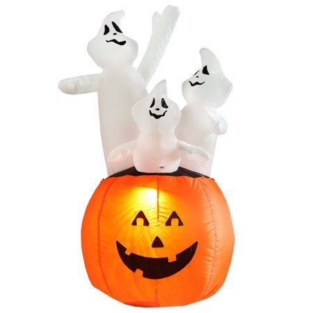 homegear halloween decorations 4 feet inflatable pumpkin ghost combo with led glow light