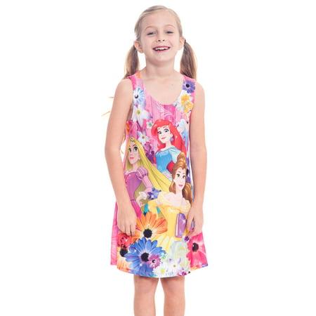Girls Disney Princess Floral Tank Dress - Cinderella Ariel Belle - Girls Disney Princess Dresses