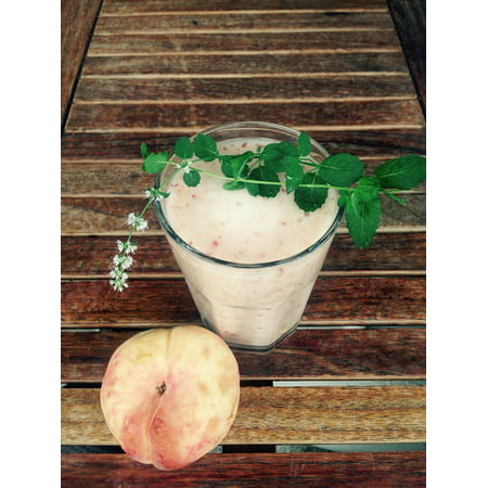 Peach Smoothie (Canvas Print Drink Peach Smoothie Stretched Canvas 10 x 14)
