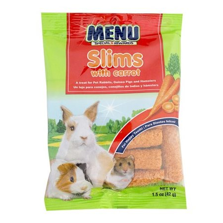 MENU SLIMS WITH CARROT TREAT FOR PET RABBITS, GUINEA PIGS AND HAMSTERS 1.5OZ - Rabbit's Foot For Sale