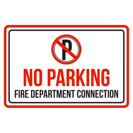 No Parking Fire Department Connection Red, Black and White Business Commercial Safety Warning Large Sign, (12x18 Parking Control)