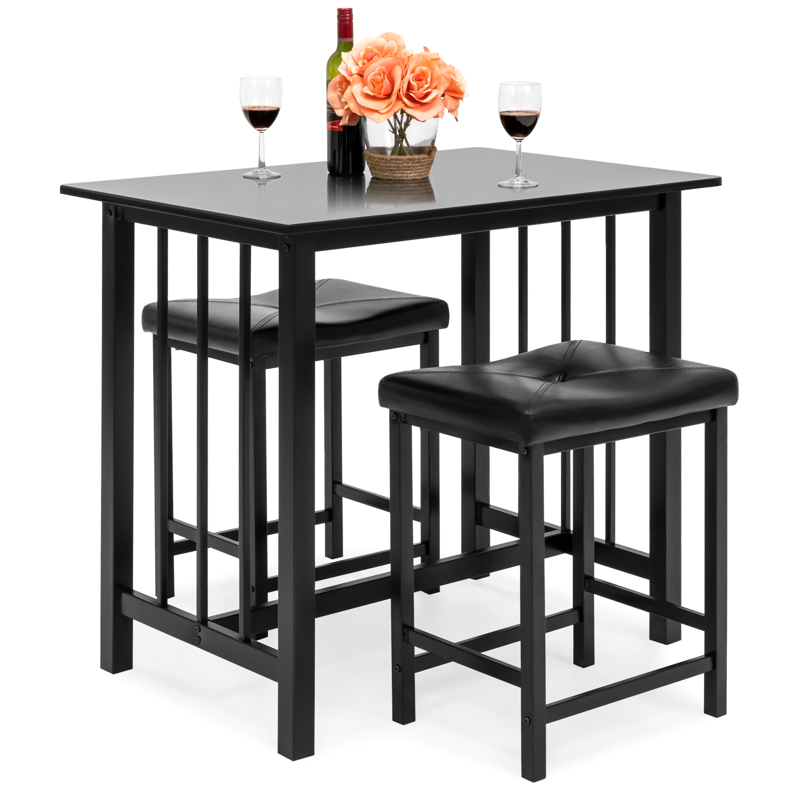 Best Choice Products Kitchen Marble Table Dining Room Set w  2 Counter Height Stools (Black) by Best Choice Products