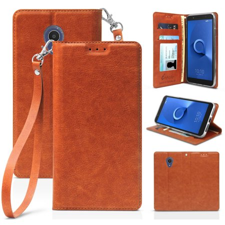923faf4a5f09 New Folio Leather Wallet Case Credit Card Slot ID Cover, View Stand [with  Subtle Magnetic Closure and Wrist Strap Lanyard] for Alcatel Ideal XTRA ...