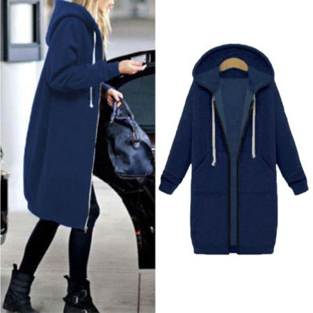 Women Long Sleeve Zipper Sherpa Sweatshirt Soft Fleece Pullover Zipper Outwear Coat Tops Parka Casual Winter Cardigan Jacket with Pockets