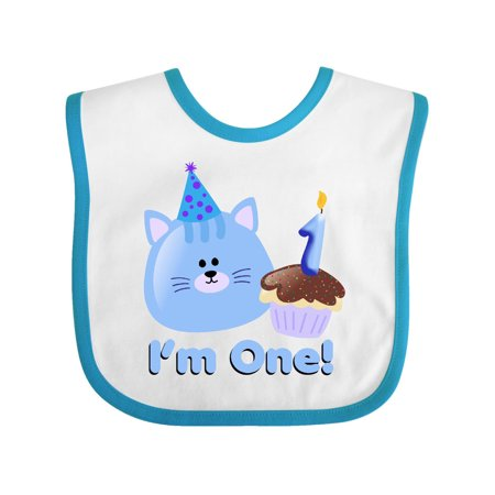 1st Birthday Kitten Blue Baby Bib White Turquoise One Size