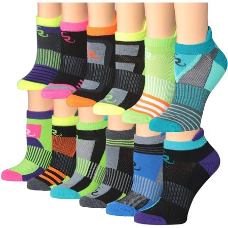 Ronnox Women's 12-Pairs Low Cut Running & Athletic Performance Tab Socks (X-Small/Small (womens shoe: 5 6 7), Sporty Stripes) RLT14-AB-XS Performance Low Cut Socks