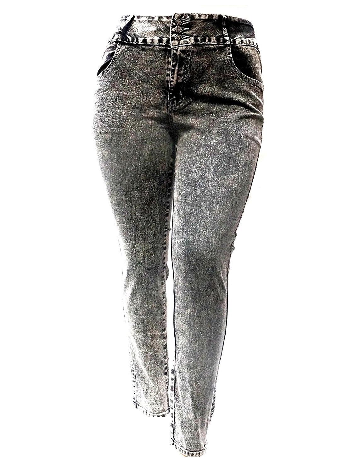 Jack David Stretchy BLACK denim jeans HIGH WAIST WOMENS PLUS SIZE pants SKINNY LEG Y1672A