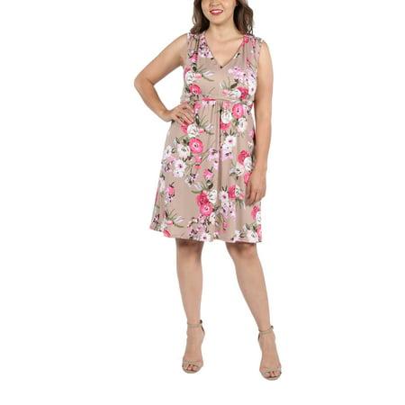 24seven Comfort Apparel Lauren Brown And Pink Floral Empire Waist