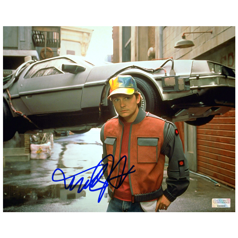 Michael J. Fox Autographed 8?10 Back to the Future Part II Photo
