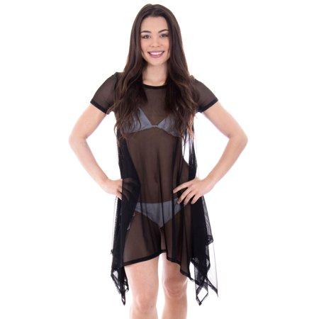c8a218ca502b MESMER - YoungLove Sheer Mesh Shirt Dress Beach Coverup, Black XL -  Walmart.com
