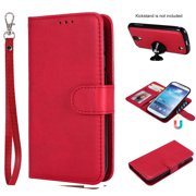 Galaxy S4 Case Wallet, S4 Case, Allytech Premium Leather Flip Case Cover & Card Slots Pocket, Wrist Design Detachable Slim Case for Samsung Galaxy S4 (S IV I9500) (Red)