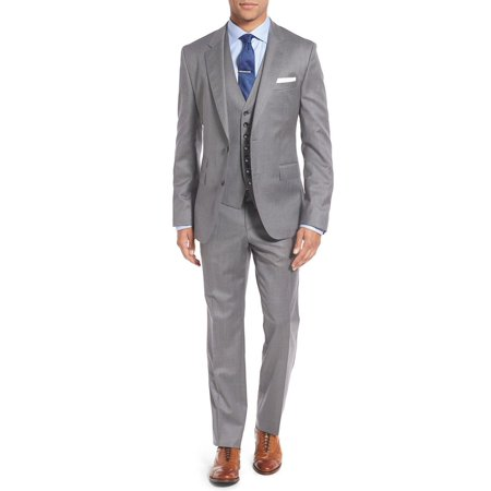 Salvatore Exte Men's 3-piece vested Suit Set 2 Button Blazer Pants Plus Tux Vest (Gray Mens Blazer)