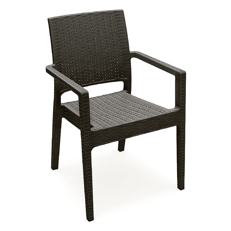 Compamia ISP810-BR Ibiza Resin Wickerlook Dining Armchair Brown Set of 2 by Compamia