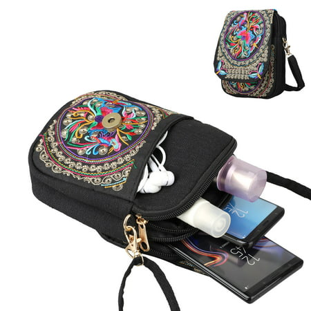 "EEEKit Crossbody Cell Phone Bag, Small Vintage Messenger Crossbody Phone Bags for Women, 6.5"" Cell Phone Pouch Shoulder Bags Floral Purse Coin Wallet for Travel Outdoor"