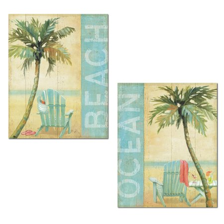 Tropical Beach and Ocean Palm Tree and Adirondeck Chair Print Set by Daphne Brissonnet; Coastal Decor; Two 11x14in Paper Posters Beach Sign 14' Coastal Decor