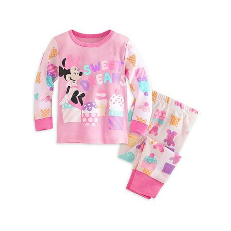 "Disney Store Baby Girls Minnie Mouse ""Sweet Dreams"" PJ Pals Pajama Set, Pink, 6-9 Months"