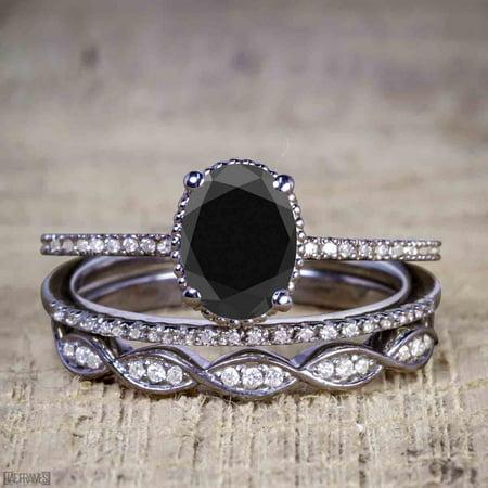 1.50 Carat Oval cut Black Diamond Solitaire Trio Wedding Bridal Ring Set in Black Gold