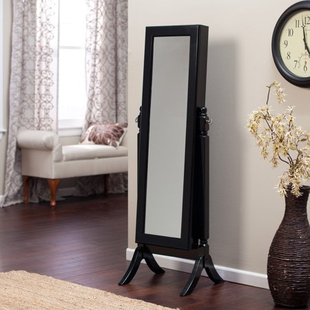 Heritage Jewelry Armoire Cheval Mirror High Gloss Black