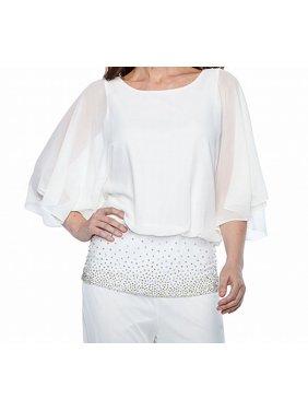ce865510ce5b1 Product Image MSK NEW White Ivory Womens Size XL Sheer Embellished Blouson  Blouse